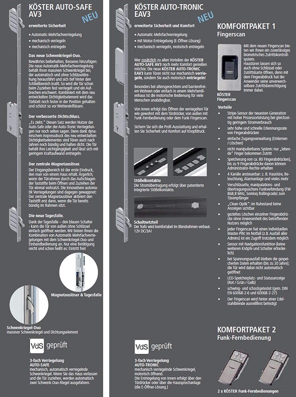 Sicherheitstechnik Köster AUTO-SAFE, Auto-Tronic und Multi-Tonic